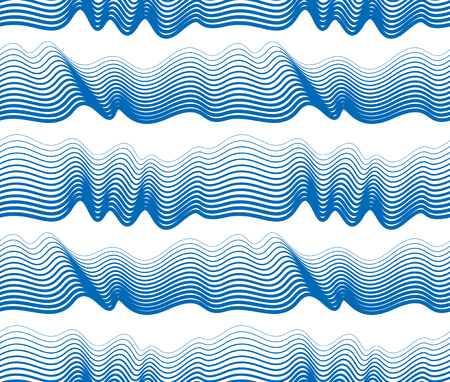 Artistic vector seamless pattern with stylized waves, blue color curve lines abstract repeat tiling background. Water Wave abstract design.