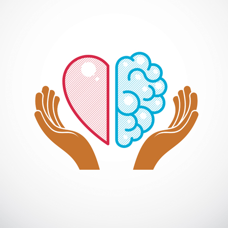 Concepto de corazón y cerebro, conflicto entre emociones y pensamiento racional, trabajo en equipo y equilibrio entre alma e inteligencia. Diseño de logotipo o icono vectorial.