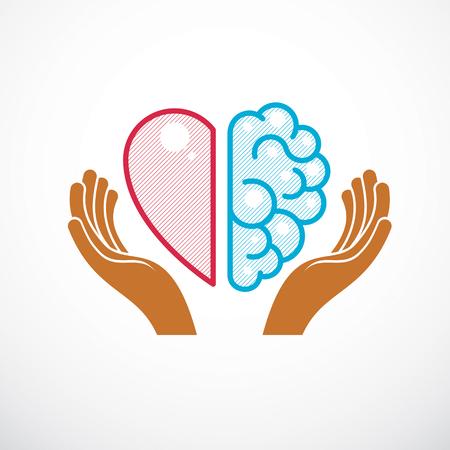 Herz- und Gehirnkonzept, Konflikt zwischen Gefühlen und rationalem Denken, Teamwork und Balance zwischen Seele und Intelligenz. Vektor-Logo oder Icon-Design.