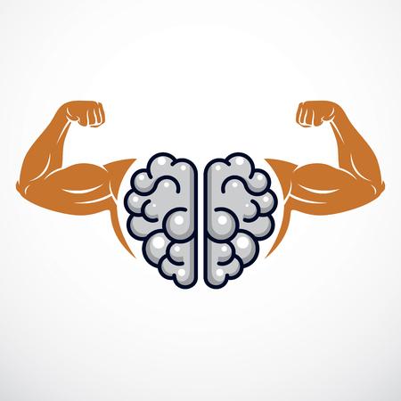 Power Brain Emblem, geniales Konzept. Vektordesign des menschlichen anatomischen Gehirns mit starken Bizepshänden des Bodybuilders. Gehirntraining, IQ steigern, psychische Gesundheit.
