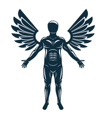 Vector graphic illustration of human, individuality created with bird wings. Guardian angel metaphor. Illustration