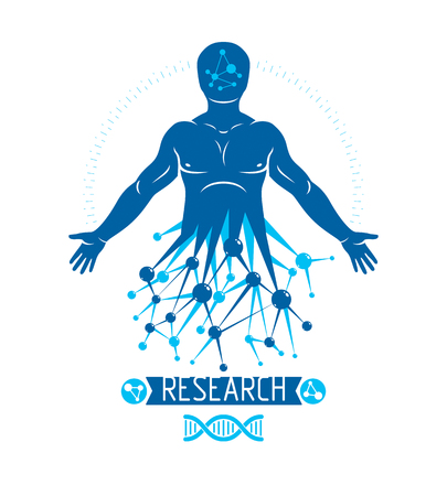 Athletic man vector illustration made using futuristic molecular connections. Human as the object of biochemistry research, genetic engineering. 矢量图片