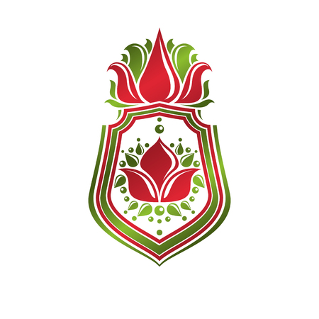 Vintage heraldic emblem created with lily flower royal symbol. Eco friendly product symbol, environment protection theme illustration, decorative shield.