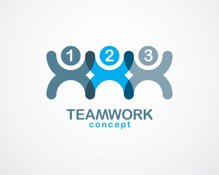 Teamwork businessman unity and cooperation concept created with simple geometric elements as a people crew. Vector icon or logo. Friendship dream team, united crew blue design.