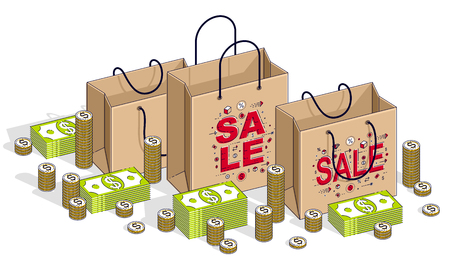 Big Sale concept, Retail, Sellout, Shopping Bag with cash money stacks and coin piles isolated on white background. Vector 3d isometric business and finance illustration, thin line design.