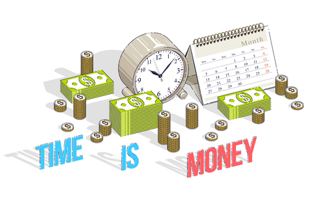 Deadline concept, table Clock and Calendar with cash money stacks and coin piles isolated on white background. Isometric vector business and finance illustration, 3d thin line design.