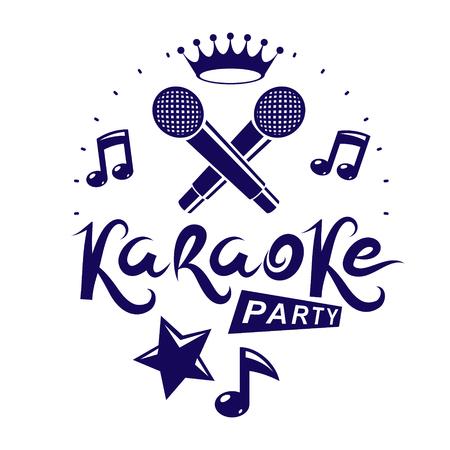 Karaokepartij promotie posterontwerp samengesteld met muzieknoten en vijfhoekige ster. Rap battle concept, tweetraps microfoons vector illustratie. Vector Illustratie