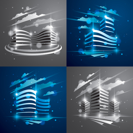 Office buildings set, modern architecture vector illustrations with blurred lights and glares effect. Real estate realty business center blue and monochrome designs. 3D futuristic facades in big city. Çizim