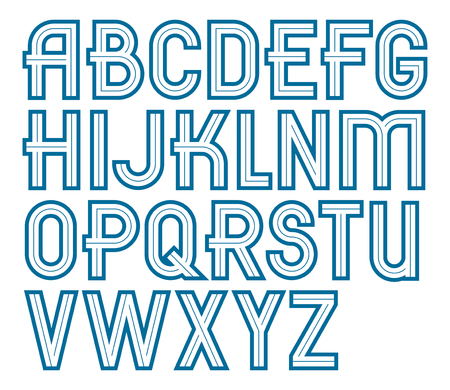 Vector bold upper case alphabet letters collection made with white lines, can be used in poster design as newspaper advertising Illusztráció