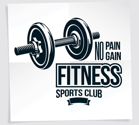 Gym advertising vector leaflet composed using disc weight dumb-bell sport equipment. No pain no gain writing.