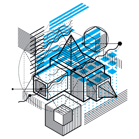 Isometric abstract background with lines and other different elements, vector abstract template. Composition of cubes, hexagons, squares, rectangles and different abstract elements. Vectores
