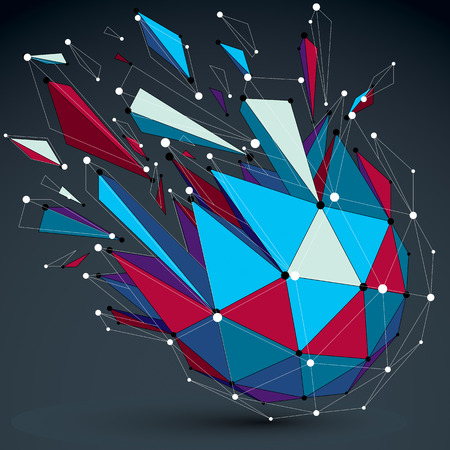Vector dimensional colorful wireframe object, demolished low poly shape with fractures and wreckage. 3d lines mesh digital technology element broken into pieces.