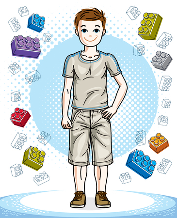 Young teen boy cute children standing wearing fashionable casual clothes. Vector attractive kid illustration. Fashion theme clipart. Vectores