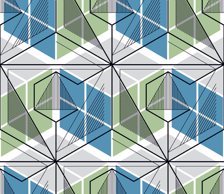 Geometric cubes abstract seamless pattern, 3d vector background. Technology style engineering line drawing endless illustration. Usable for fabric, wallpaper, wrapping, web and print. Vectores