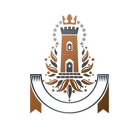 Emblème de l'ancienne forteresse. Armoiries héraldiques, logo vectoriel vintage. Logotype fleuri à l'ancienne sur fond blanc isolé.