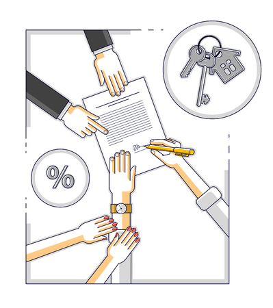 Man signs bank mortgage hypothec for real property house buying and his woman helps him to dare to make a decision and employee explains terms of loan, top view people hands and paper. Vector.