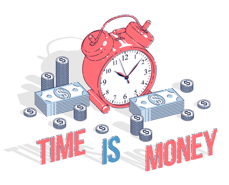 Time is Money concept, table Alarm Clock with cash money stacks and coin piles isolated on white background. Vector 3d isometric business and finance illustration, thin line design.