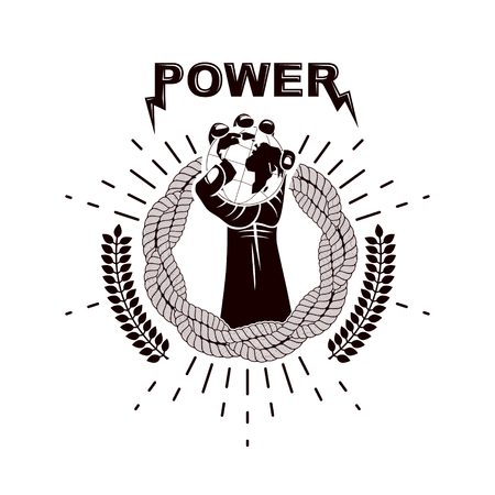 Vector logo composed using strong muscular raised arm surrounded by rope and holding Earth globe. Authority as the means of global control and manipulation. Ilustração
