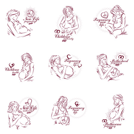 Set of pregnant female beautiful body outlines, mother-to-be vector drawn illustration. Maternity ward marketing poster Illustration
