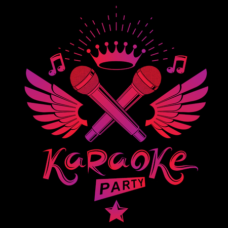 Karaoke party promotion poster design composed using musical notes, 5 pentagonal stars and wings. Rap battle concept, two stage microphones vector illustration.