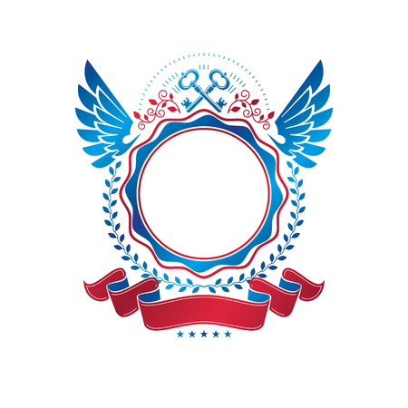 Graphic Ancient Key emblem created in security theme. Heraldic vector design element. Retro style label, heraldry logo decorated with beautiful ribbon and eagle wings. Vectores