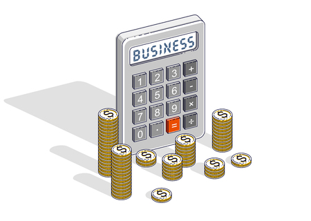 Business and bookkeeping  or accounting concept, calculator and money cash dollar stack and coins isolated on white background. Vector 3d isometric business and finance illustration.