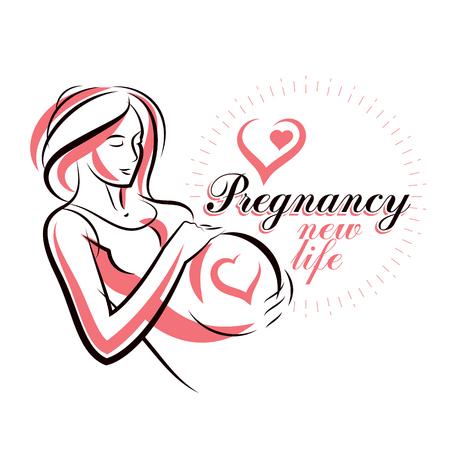 Vector hand-drawn illustration of pregnant elegant woman expecting baby, sketch. Maternity hospital advertising flyer Illustration