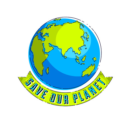 World international Earth Day concept, eco ecology, climate changes, Earth Day April 22, planet with ribbon and typing vector emblem or illustration isolated over white background. Vectores
