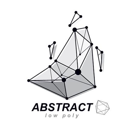 Vector abstract 3d geometric shape, polygonal figure. Technology corporate emblem.