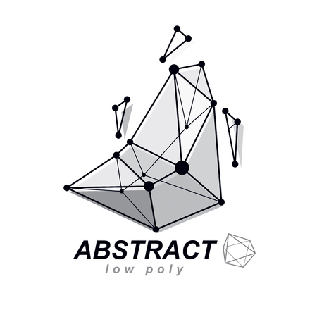 Vector abstract 3d geometric shape, polygonal figure. Technology corporate emblem.