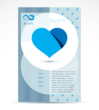 Water treatment company advertising flyer. Pure water vector abstract illustration, heart shape.
