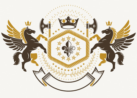 Luxury heraldic vector emblem template composed with ancient weapon, hatchets. Vector blazon made with mythic Pegasus, imperial crown and Lily flower royal symbol.