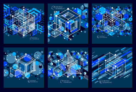 Abstract vector geometric isometric dark blue backgrounds set. Mechanical scheme, vector engineering drawing with cube and geometric mechanism parts.