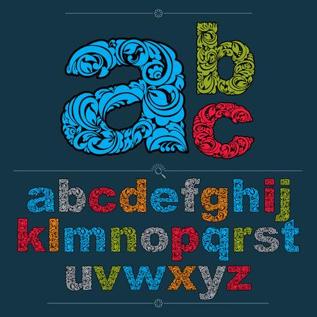 Blumenschrift, handgezeichnete Vektor-Kleinbuchstaben, verziert mit botanischen Mustern. Buntes dekoratives Typoskript, Vintage-Design-Schriftzug.
