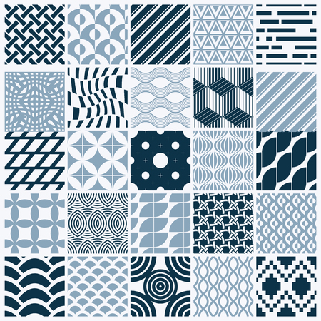 Graphic ornamental tiles collection, set of monochrome vector repeated patterns. Vintage art abstract textures can be used as wallpapers.  イラスト・ベクター素材