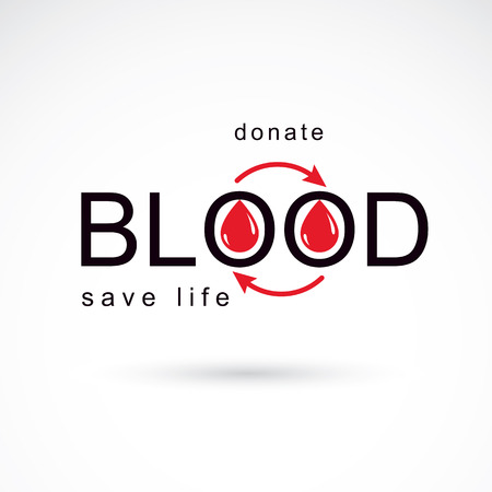 Blood donation vector symbol created with red blood drops and arrows. Blood transfusion metaphor, medical care emblem. 写真素材 - 107703463