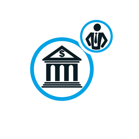 Banking conceptual logo, unique vector symbol. Banking system. The banker, successful businessman.