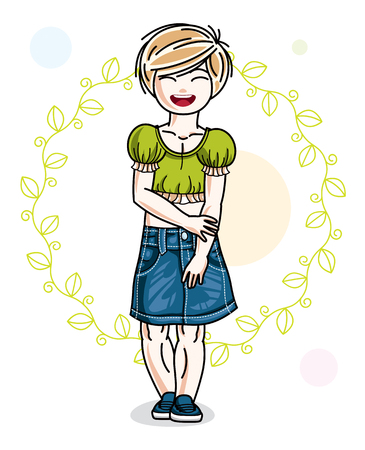 Little blonde cute girl standing on spring eco background with leaves. Illustration of vector attractive kid wearing casual clothes.