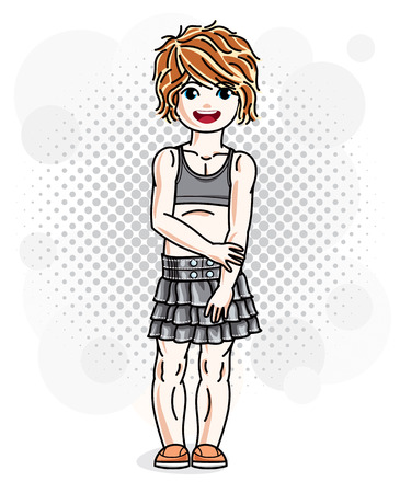 Cute happy red-haired girl in jeans wear posing. Vector character. Illustration