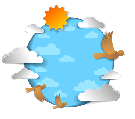 Birds flock flying among beautiful clouds and sun in the sky, summer ease and peaceful feeling, vector illustration in paper cut kids style. Stock Illustratie