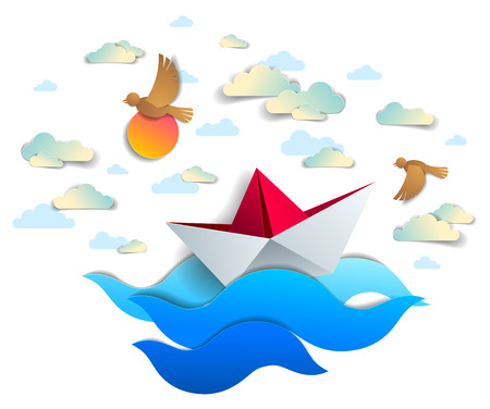 Paper ship swimming in sea waves, origami folded toy boat floating in the ocean with beautiful scenic seascape with birds and clouds in the sky, vector illustration.
