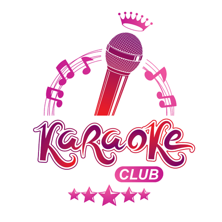 Studio microphone audio equipment composed with royal crown and musical notes, can be used as vector emblem for karaoke club advertising and nightclub discotheque invitation poster. Stock Illustratie