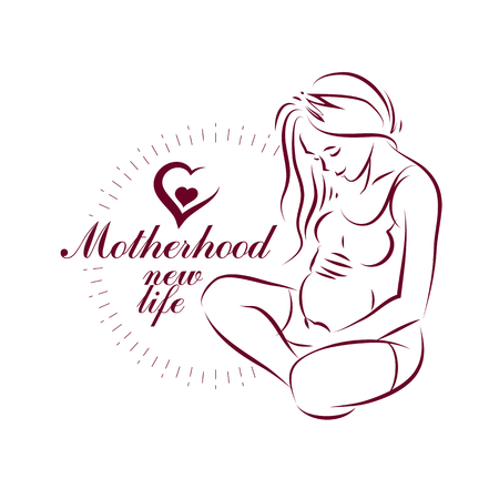 Pregnant female body shape hand drawn vector illustration, beautiful lady gently touching her belly. Pregnancy and maternity popularization