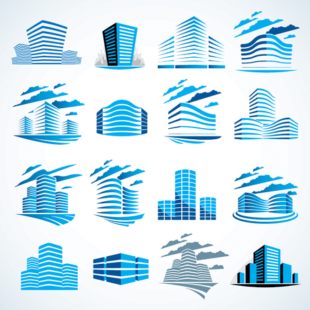 City buildings business financial office vector design set. Futuristic architecture illustrations collection. Real estate realty office center designs. 3D futuristic facades in big city. Can be used as a logos or icons.