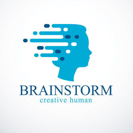 Brainstorm concept, vector design of human head profile with thoughts moving fast. Vector logo or icon template. Illustration