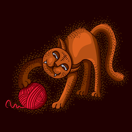 Cute cartoon doodle red cat vector illustration, nice pet playing with thread ball. 矢量图像