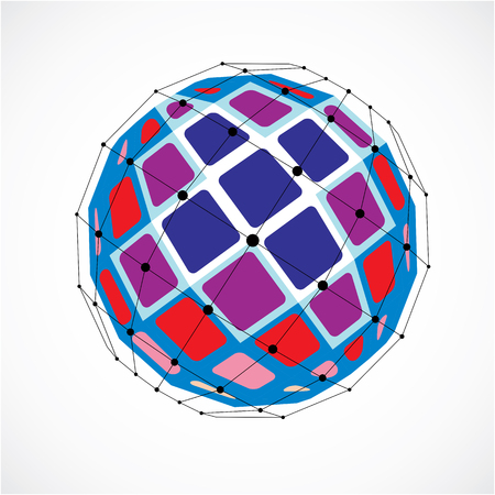 Abstract 3d faceted figure with connected black lines and dots. Vector low poly colorful design element created with squares. Cybernetic orb shape with grid and lines mesh.