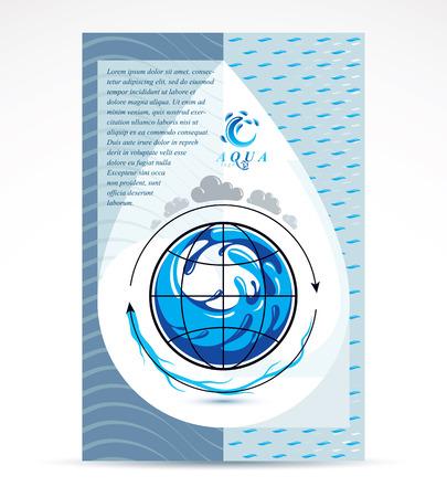 Modèle de flyer corporatif d'entreprise de livraison d'eau. Illustration vectorielle graphique. Conception conceptuelle de la circulation mondiale de l'eau, planète bleue. Vecteurs