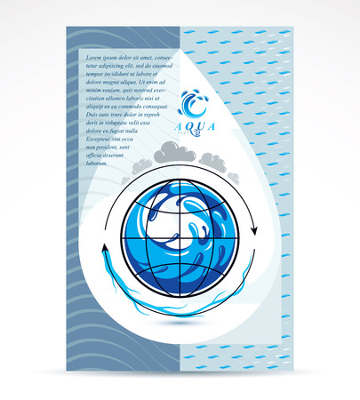 Unternehmens-Flyer-Vorlage für die Wasserlieferung. Grafische Vektorillustration. Konzept der globalen Wasserzirkulation, blauer Planet. Vektorgrafik