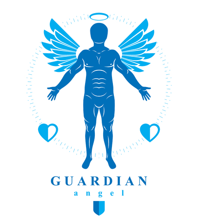 Vector illustration of human, athlete made using angel wings and nimbus. Holy Spirit, cherub metaphor.